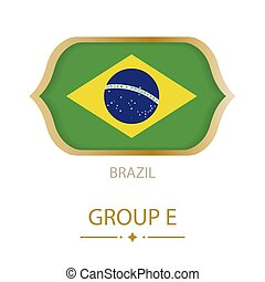 The flag of Brazil is made in the style of the Football World Cup