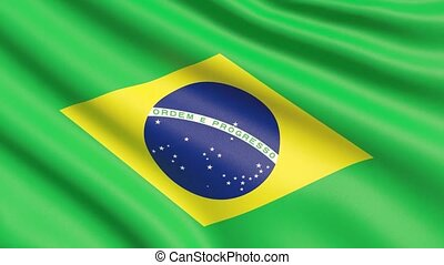The flag of Brazil. Waved highly detailed fabric texture. -...