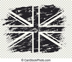 The flag of Britain silhouette is black and white. UK grunge, abstract. Monochrome style. Illustration isolated on a transparent background.
