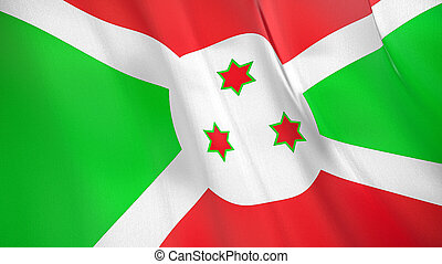 The flag of Burundi. Waving silk flag of Burundi. High quality render. 3D illustration