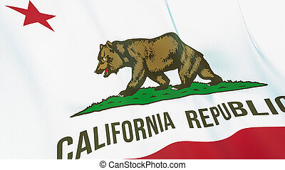 The flag of California. Waving silk flag of California. High quality render. 3D illustration