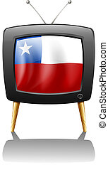 The flag of Chile inside the TV - Illustration of the flag...