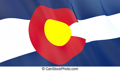 The flag of Colorado. Waving silk flag of Colorado. High quality render. 3D illustration