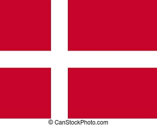 The Flag of Denmark. National symbol of the state. Vector illustration.