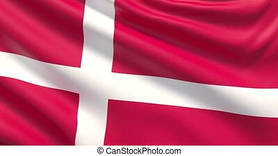 The flag of Denmark. Waved highly detailed fabric texture.