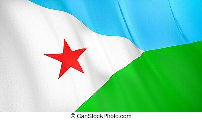 The flag of Djibouti. Waving silk flag of Djibouti. High quality render. 3D illustration
