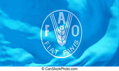 The flag of Food and agriculture organization flutters in ...