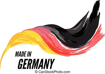 The flag of Germany with the inscription is made in Germany. Vector illustration on a white background