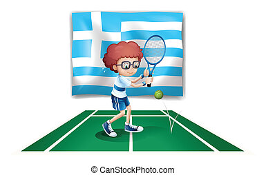 The flag of Greece and the tennis player