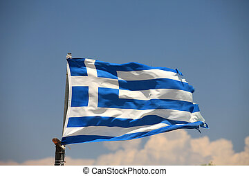 The flag of Greece in a similar state as the economy