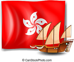 The flag of Hongkong with a ship