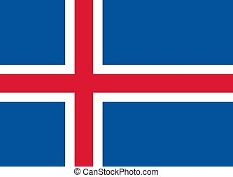 The Flag of Iceland. National symbol of the state. Vector illustration.