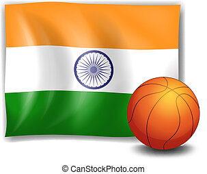 The flag of India with a ball