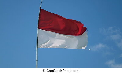 The flag of Indonesia develops on wind against the background of blue sky