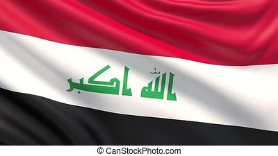 The flag of Iraq. Waved highly detailed fabric texture. -...