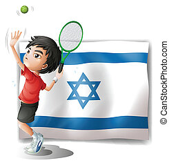 The flag of Israel and the tennis player - Illustration of...