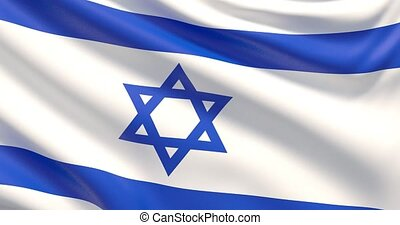 The flag of Israel. Waved highly detailed fabric texture. -...