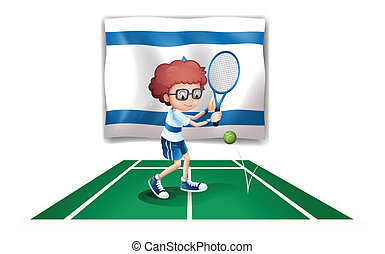 The flag of Israel with a tennis player - Illustration of...