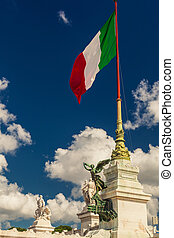 The flag of Italy blowing in the wind