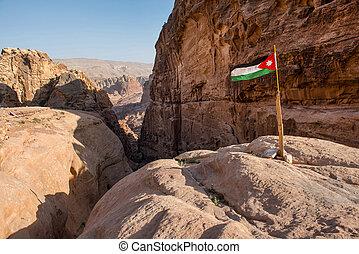 The flag of Jordan in Petra