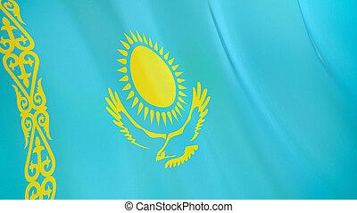 The flag of Kazakhstan. Waving silk flag of Kazakhstan. High quality render. 3D illustration
