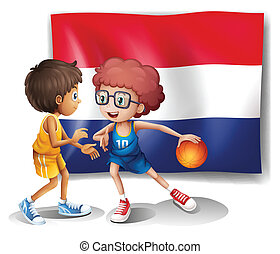 The flag of Netherlands and the basketball players