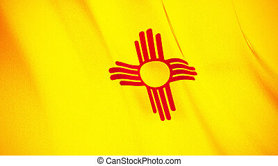 The waving flag of New Mexico . High quality 3D illustration. Perfect for news, reportage, events.