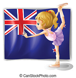 The flag of New Zealand with the gymnast