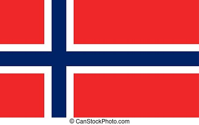 The Flag Of Norway. National symbol of the state. Vector illustration.