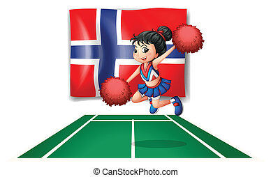 The flag of Norway with a cheerdancer