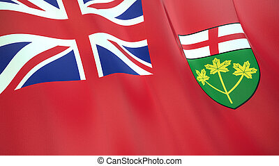 The flag of Ontario. Waving silk flag of Ontario. High quality render. 3D illustration