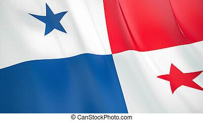 The flag of Panama. Waving silk flag of Panama. High quality render. 3D illustration