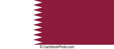 The Flag Of Qatar. National symbol of the state. Vector illustration.