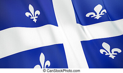 The flag of Quebec. Waving silk flag of Quebec. High quality render. 3D illustration