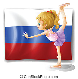 The flag of Russia with a ballet dancer
