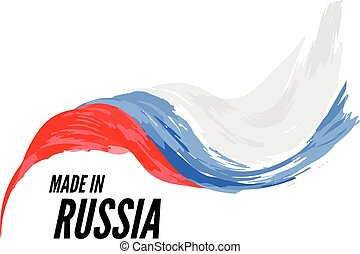 The flag of Russia with the inscription is made in Russia. Vector illustration on a white background