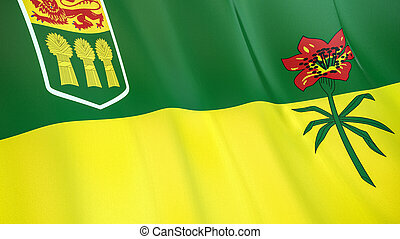 The flag of Saskatchewan. Waving silk flag of Saskatchewan. High quality render. 3D illustration