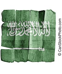The flag of Saudi Arabia on the old paper.