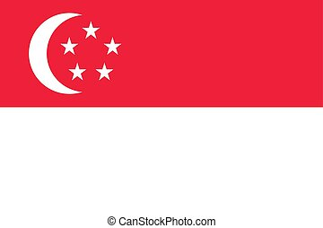 The Flag of Singapore. National symbol of the state. Vector illustration.