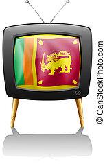 The flag of Sri Lanka inside a TV screen - Illustration of...