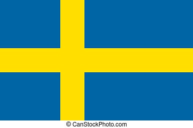 The Flag of Sweden. National symbol of the state. Vector...
