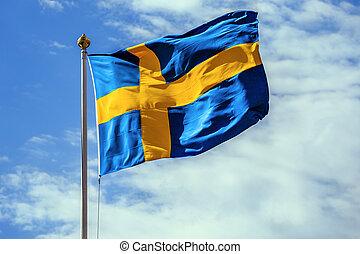 The flag of Sweden.