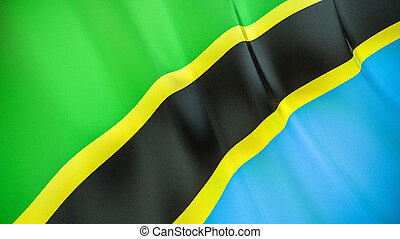 The flag of Tanzania. Waving silk flag of Tanzania. High quality render. 3D illustration