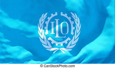 The flag of the international labor organization is waving ...