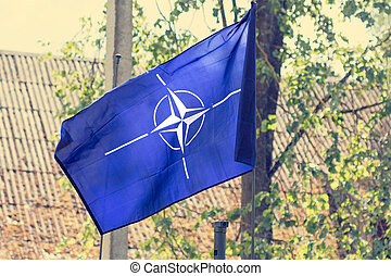 The flag of the NATO - The flag of the North Atlantic Treaty...