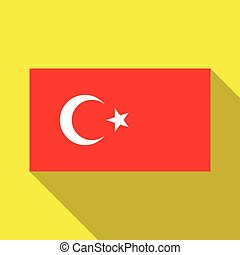 The flag of Turkey on a yellow background with long shadow