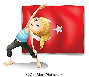 The flag of Turkey with a girl exercising