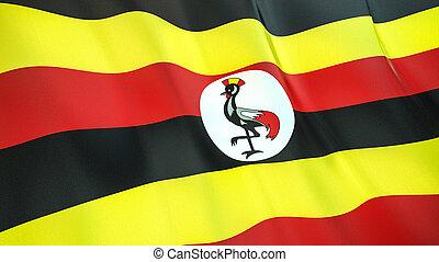 The flag of Uganda. Waving silk flag of Uganda. High quality render. 3D illustration