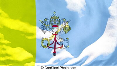 The flag of Vatican is flying in the wind