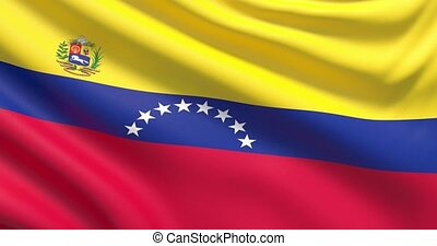 The flag of Venezuela. Waved highly detailed fabric texture....